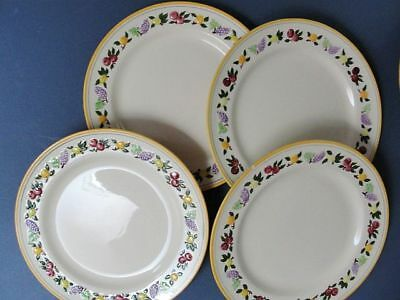 "FRANCISCAN - SMALL FRUIT - 4  dinner plates 10 1/2"" ( all have small rim chips)"