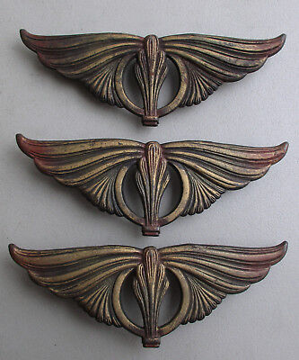 3 Antique Vtg Ornate Victorian Cast Iron Clip-On Curtain Drapery Rod Medallions