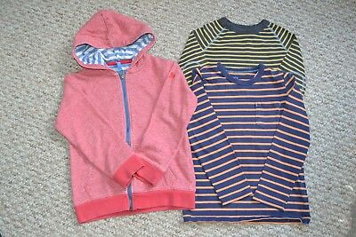 Lovely Mini Boden Boys Bundle Red Hoodie & 2x Striped T-Shirt Tops 4-5 Years EUC