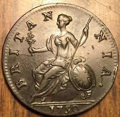 1750 Uk Gb Great Britain Half Penny A Truly Fantastic Example !!