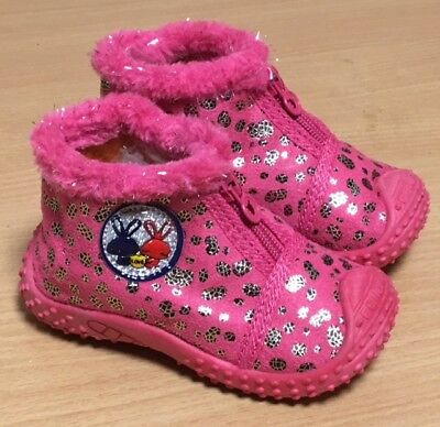 Girls Ankle Boots Pink Silver Boots Comfy Infant Size Uk 1-5 Winter Boots