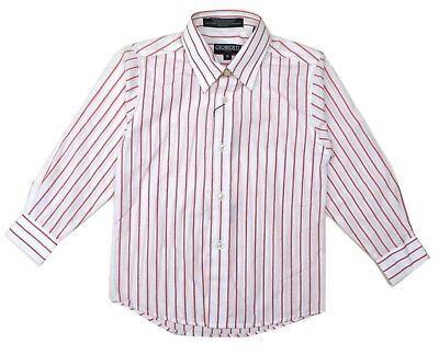 Dress Shirt Boys Toddler Boy Long Sleeve Button Down Striped White Red Size 5