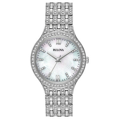Bulova Women's 96L242 Quartz Swarovski Crystal Accents Silver-Tone 32mm Watch