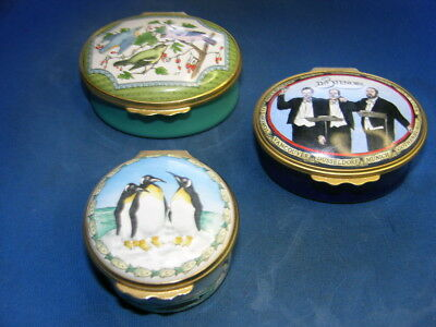 3 Vintage Halcyon Days Enamel Boxes made in England
