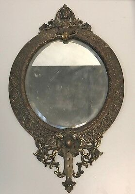 Old VICTORIAN Brass Bronze Oval Bevele Mirror LADY Head WALL Light Candle SCONCE