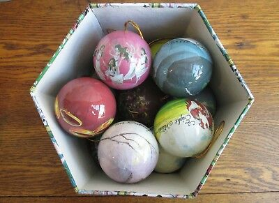 12 Days of Christmas Decoupage Paper Mache 12 Ball Ornaments in Box