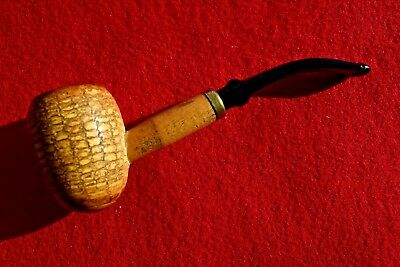 Vintage Missouri Meerschaum Great Dane Egg Corn Cob Pipe Bent Brass Band