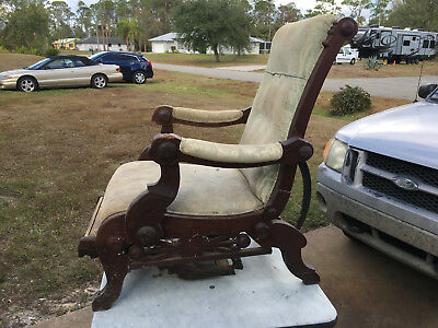 Antique - Vintage Wooden Reclining Arm Chair   1800 or 1900's    WS INVENTOR