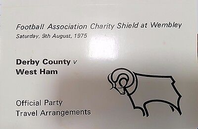 1975 Charity Shield DERBY COUNTY - Official Travel Itinerary + rail ticket