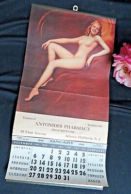 ANTIQUE vintage advertising CALENDAR 1946 NUDE pin up girl FULL 12 month pad 19""