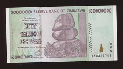 AC Zimbabwe 50 TRILLION DOLLAR BILL AA /2008, P-90 uncirculated 100% AWESOME