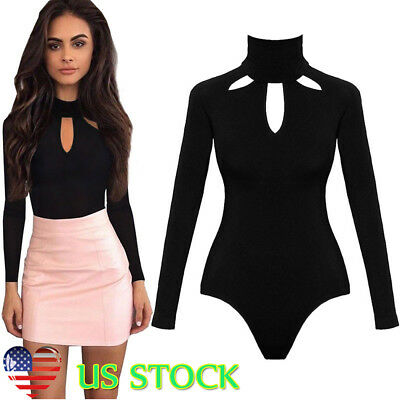 US Women Long Sleeve Stretch Turtle Neck Bodysuit Anutmn Leotard Body Top Blouse