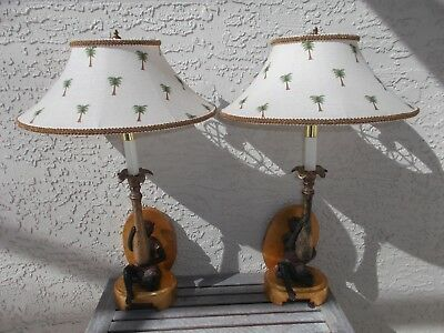 Frederick Cooper Monkey Gilt Wall Sconce Lights / w Shades VGC Free Shipping