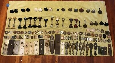 Large Lot Of 130 Antique Vintage Door Knobs, Faceplates, Key Hole Covers