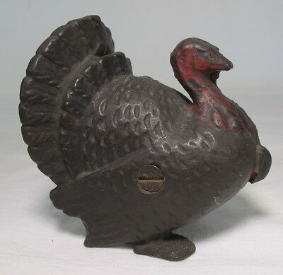 Antique Early 1900s AC Williams Cast Iron Figural Turkey Bird Still Bank Toy yqz