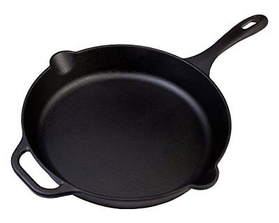 """Victoria Cast Iron 12"""" Skillet Fry Pan with Long Handle, Seasoned, Large..."""