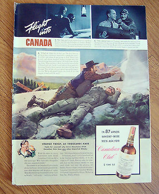 1940 Canadian Club Whiskey Ad    Airplane Flight into Canada