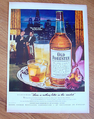 1952 Kentucky Old Forester Whiskey Ad   Big City Theme Skyline Night View
