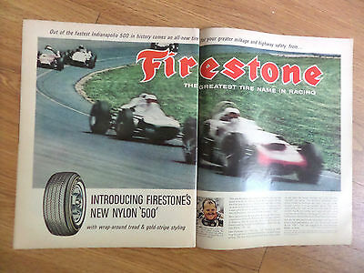1964 Firestone Tire Ad Indy Indianapolis 500 Race  A J Foyt