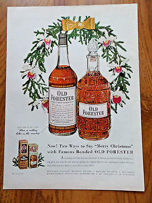 1950 Old Forester Whiskey Ad Merry Christmas