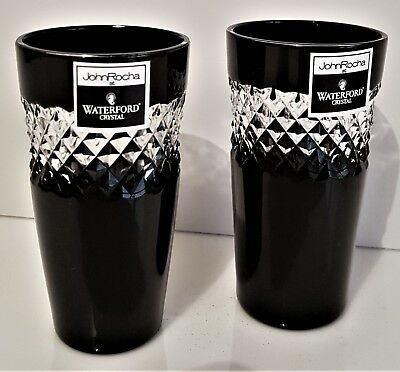 Two Waterford John Rocha Black Cased Shot Glasses, New Without Box, Signed