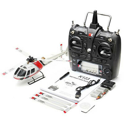 XK K123 2.4GHz 6CH Brushless 3-Blade Flybarless RC Helicopter RTF Version