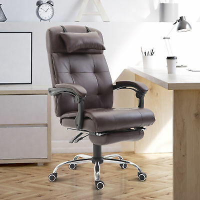 HOMCOM Ergonomic Office Chair Footrest Executive Reclining High Back PU Brown