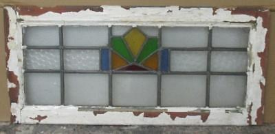 LARGE OLD ENGLISH LEADED STAINED GLASS WINDOW Nice Abstract Geometric 32.25 x 15