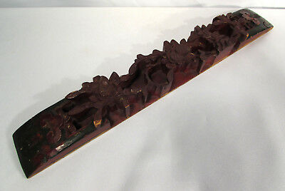 Vintage Oriental Chinese Carved Wood Folk Art Decorative Wall Hanging