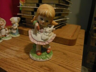 HOMCO #1424 GIRL holding CARROTS and BUNNY Country Children Figurine