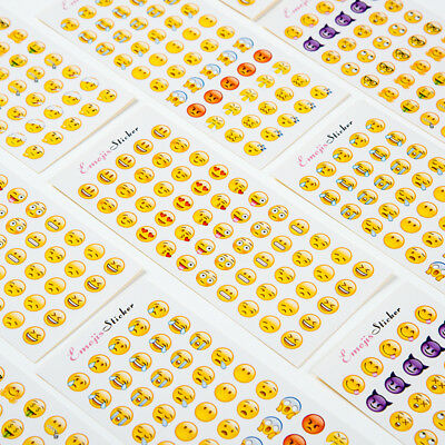 12 Sheets Cartoon Notebook Funny Stick  Emoji Stickers Set Smile Face Stickers