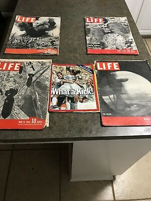 Mid 1940s Life Magazines Lot Of 5! VINTAGE