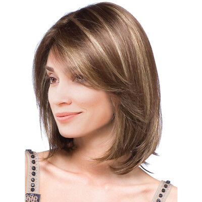 Women Girls Bob Short Mixed Color Synthetic Hair Wigs with Cap Medium Brown