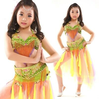 Kid/'s Professional Belly Dance Costumes Performance Show Outfits Dress Set #868