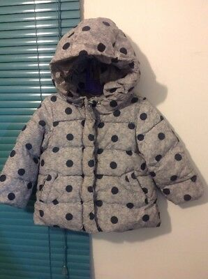 Cute Girls Baby Gap Puffa Jacket Down Primaloft Hooded Grey Spots New Age 3