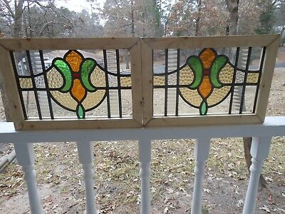 V-304 Lovely Matched Pair Leaded Stain Glass Window From England Reframed