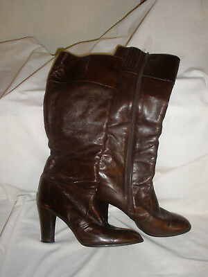 Vintage Nina Brown Leather Tall Boot Zipper Made in Spain Size 10B