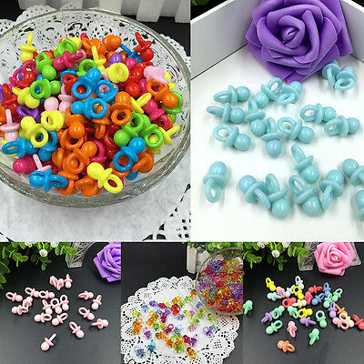 50Pcs Clear Baby Shower Favors Mini Pacifiers Girl Boy Party Decorations New.