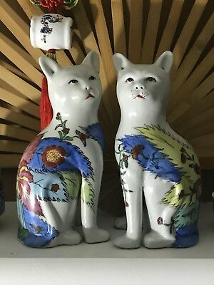 Pair of Vintage Chinese Export Porcelain Cat Figurines Famille Rose Hand Painted