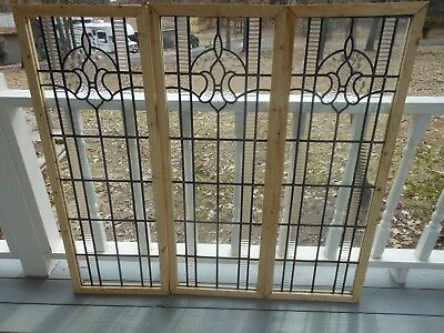 V-304D Lovely Leaded Glass Window From England Reframed   3 Available