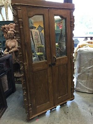 Antique Door PANELS Indian Mirror Carved Teak Wood Doors with Frame 18C