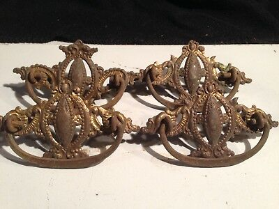 Set 4 Vintage Antique Brass Drawer Pulls Victorian Ornate Scrolls Handle