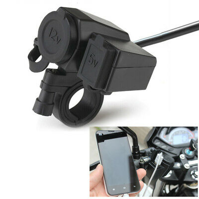 Motorcycle Cigarette Lighter Socket Phone USB Charger Handlebar Mount Bracket
