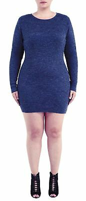 New Ladies Plus Size Scoop Neck Ribbed Knitted Pullover Jumper Dress Top 18-24