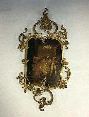 French Victorian Solid Bronze Antique Sconce Oil Painting Plaque Very Rare