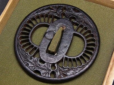 "SUKASHI TSUBA 18-19th C Japanese Edo Antique Koshirae fitting ""Flowers"" e675"
