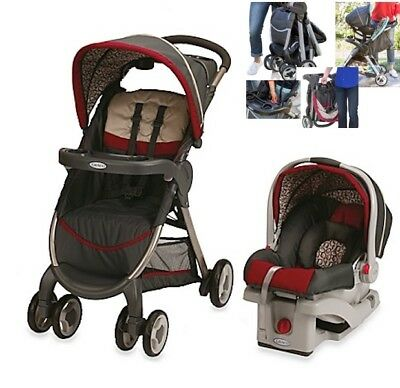 Red Stroller Car Seat Travel System Graco Lightweight Baby Carriage Infant