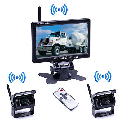 """7"""" Monitor + 2 x Wireless Reverse Rear View Backup Camera Kit for Bus Truck RV"""
