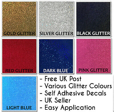 "6"" GLITTER Effect Tile Sticker Transfers Kitchen Bathroom Silver Black Decal DIY"