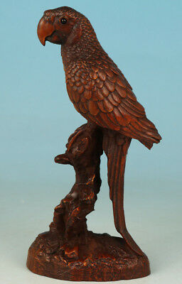 Chinese Old Boxwood Collection Handmade Carved Parrot Figure Statue